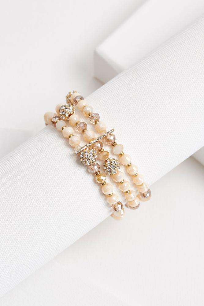 Beaded Pave Ball Stretch Bracelet