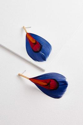 metal bar feather earrings