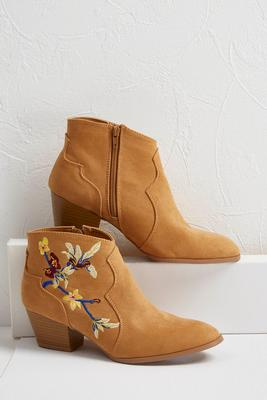 pointy embroidered ankle boots