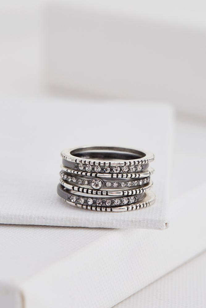Two- Toned Textured Ring Set