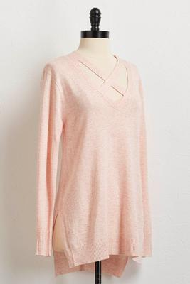 high-low cross front tunic