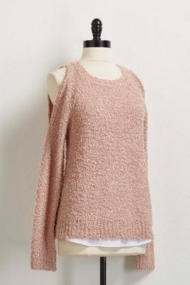 bare shoulder layered hem sweater