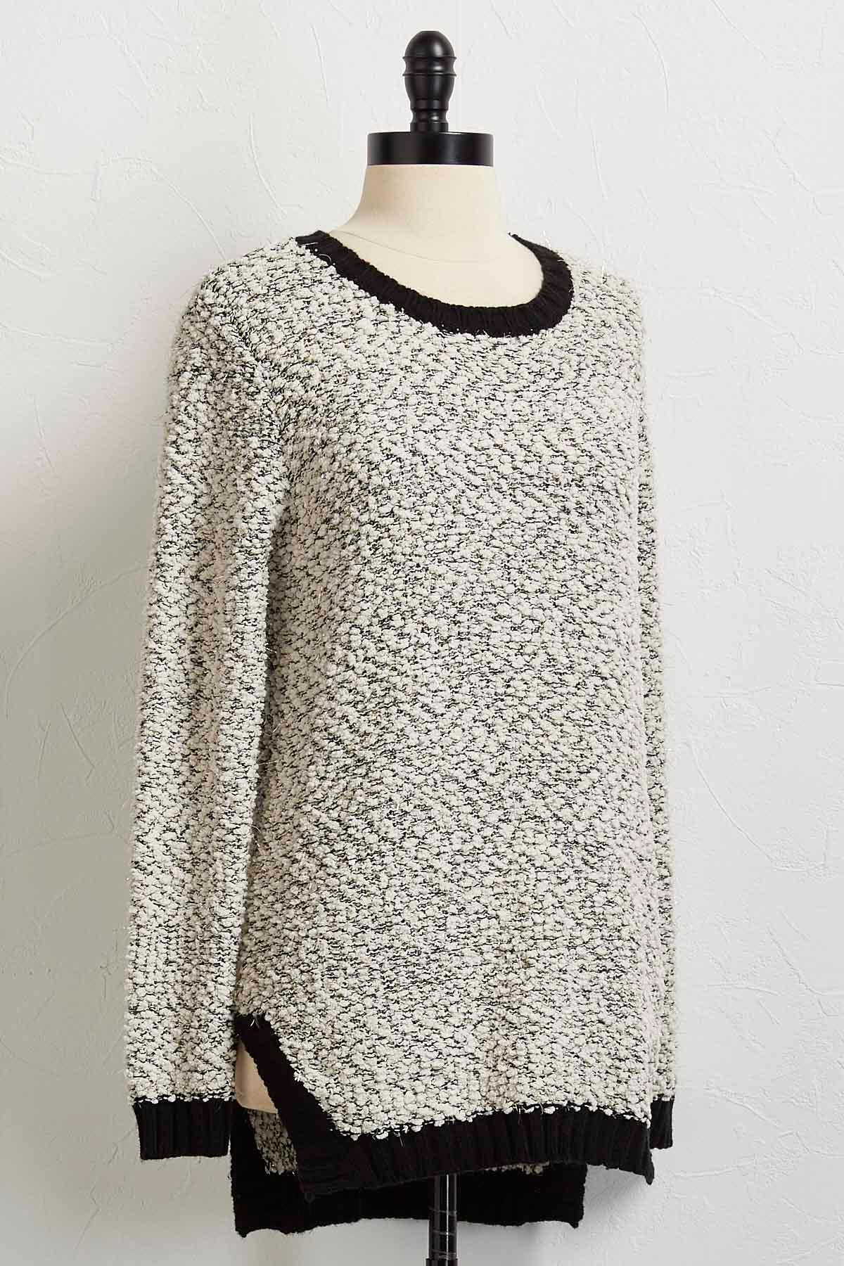 Metallic Popcorn High- Low Sweater