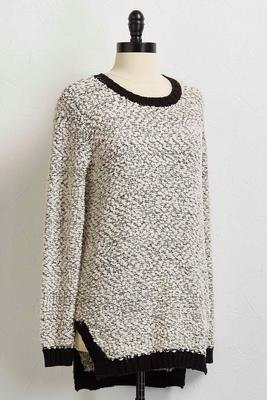 metallic popcorn high-low sweater