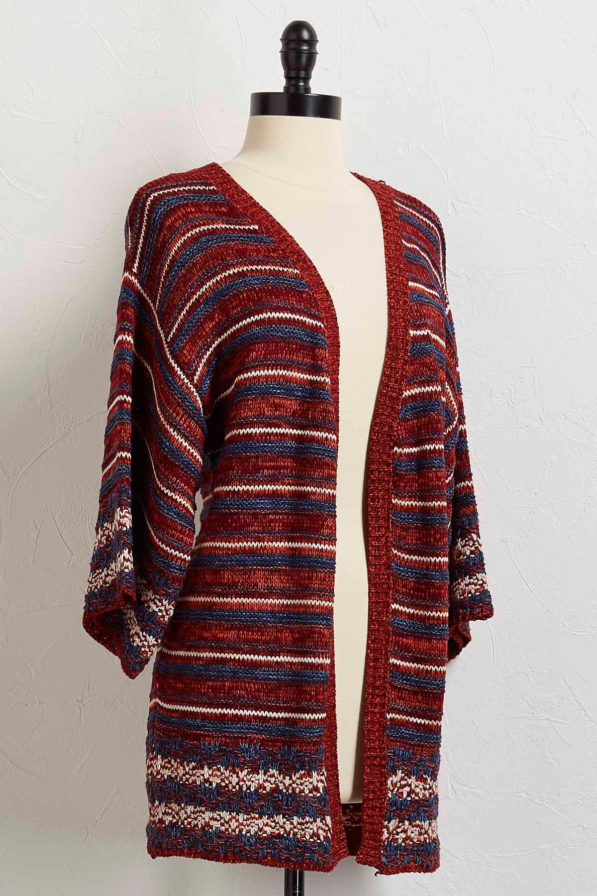 Striped Flare Sleeve Cardigan