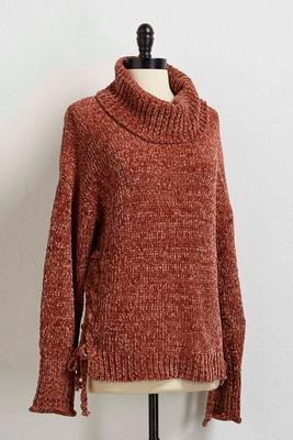 cowl neck lace up sweater