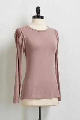 cinched shoulder knit top