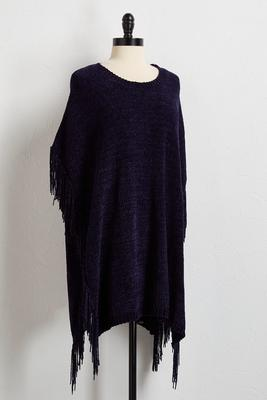 fringed chenille poncho