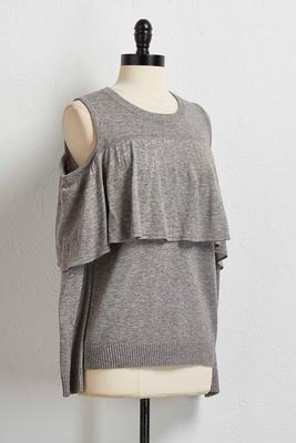 ruffled bare sleeve sweater