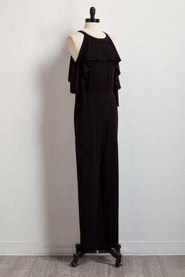 ruffled bare shoulder jumpsuit