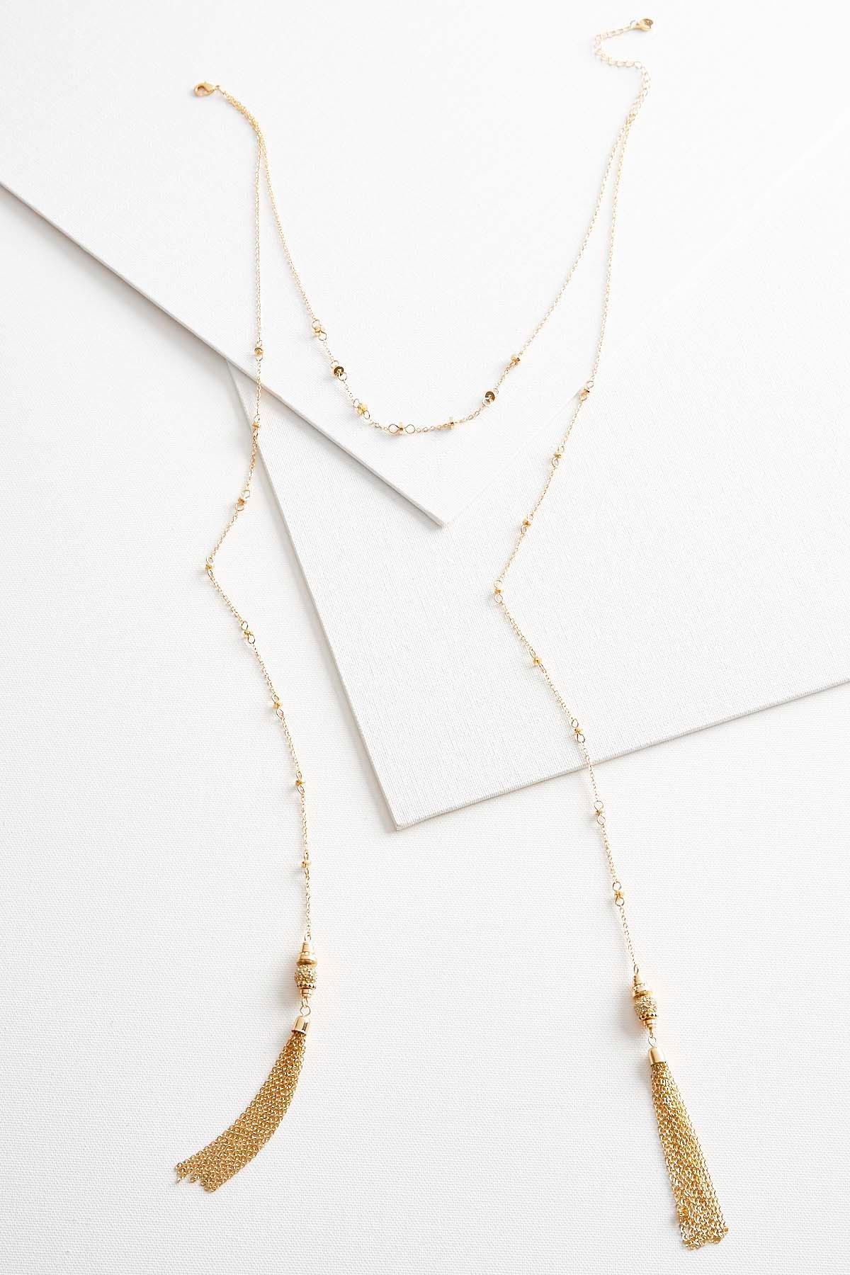 Layered Lariet Tassel Necklace