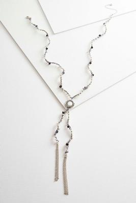 woven pearl bead y-necklace