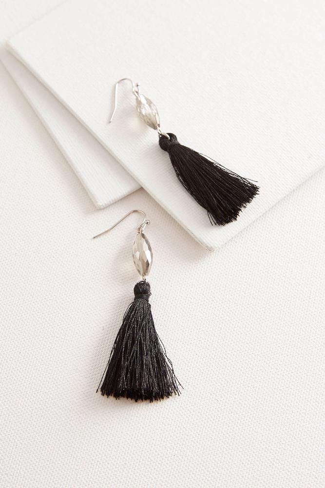 Faceted Bead Tassel Earrings