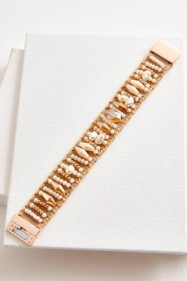 beaded fabric bracelet