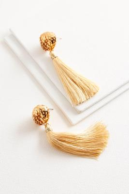 sequin post tassel earrings