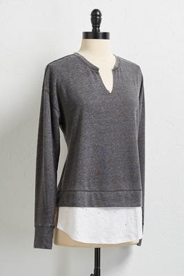 destructed layered sweatshirt