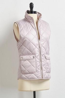 metallic quilted vest