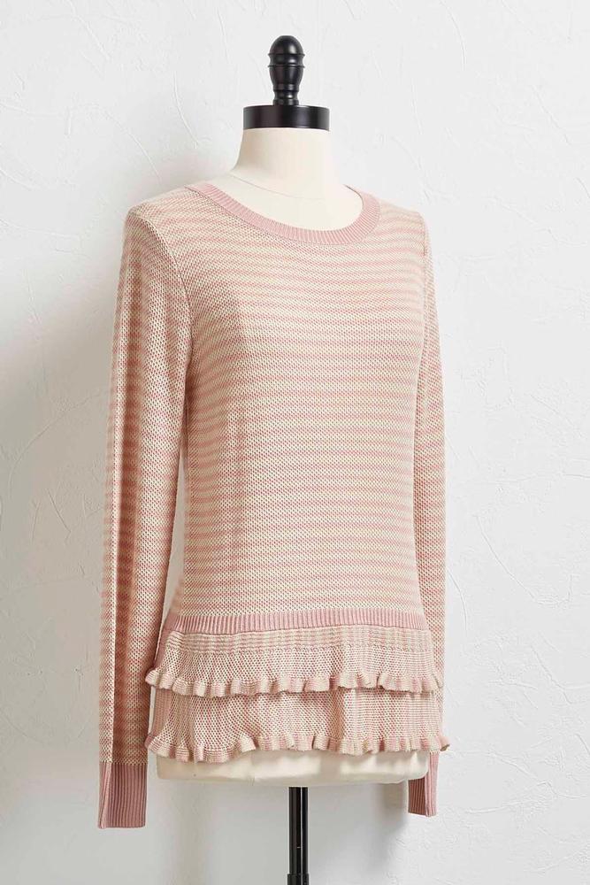 Tiered Ruffle Striped Sweater