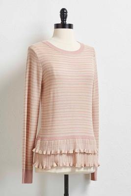 tiered ruffle striped sweater