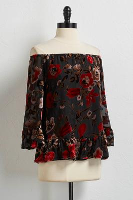 floral velvet off the shoulder top