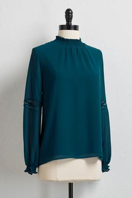 ruched mock neck top