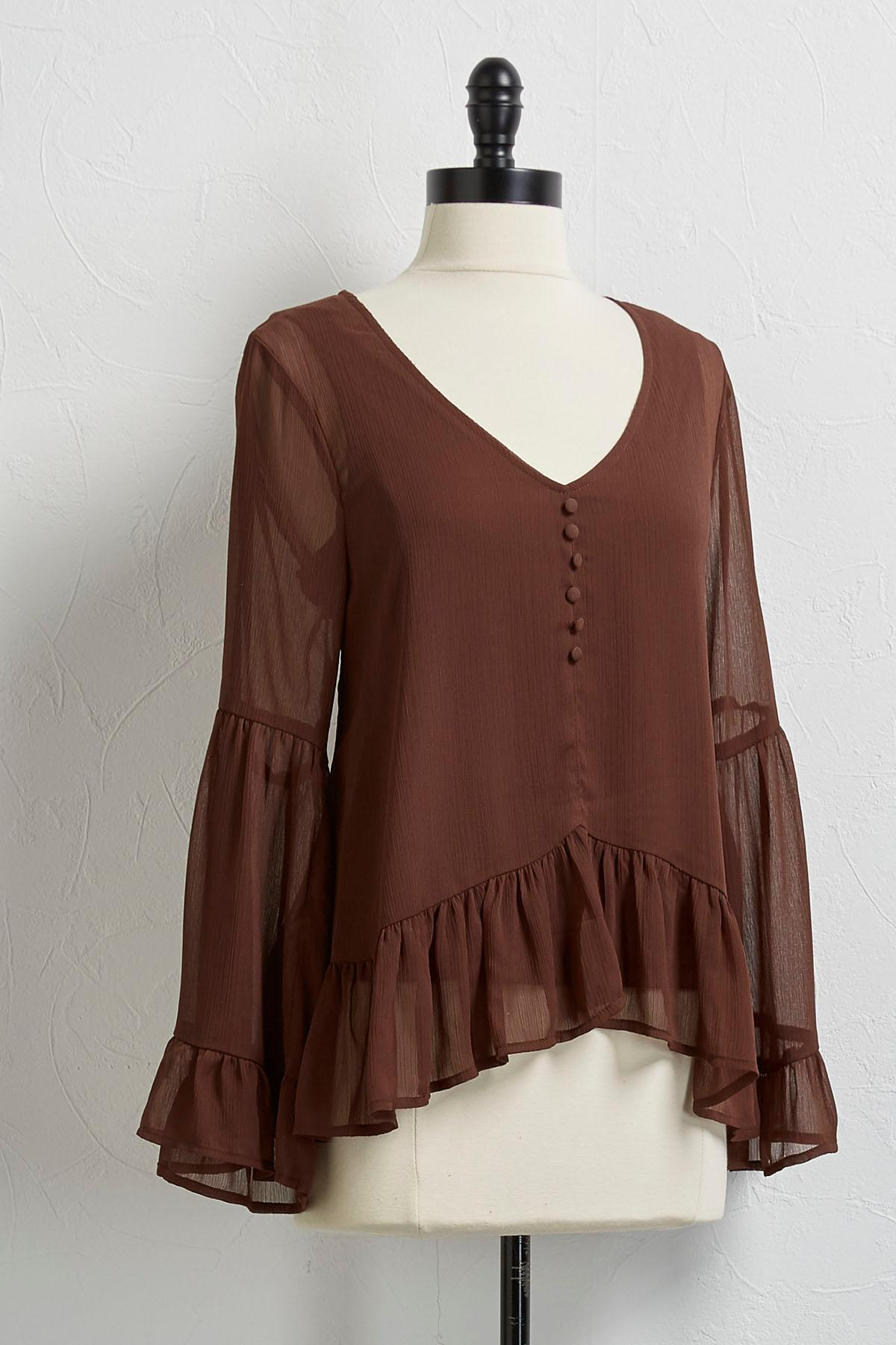 Ruffled Bell Sleeve Chiffon Top