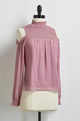 smocked bare shoulder top