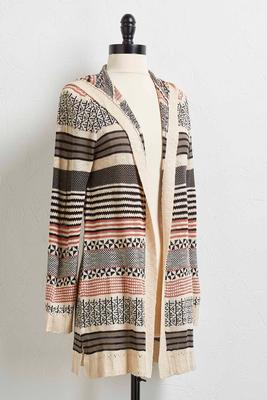 mixed stripe hoodie cardigan
