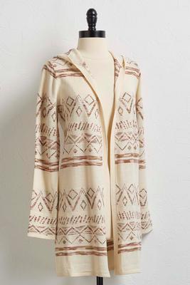 aztec hoodie cardigan