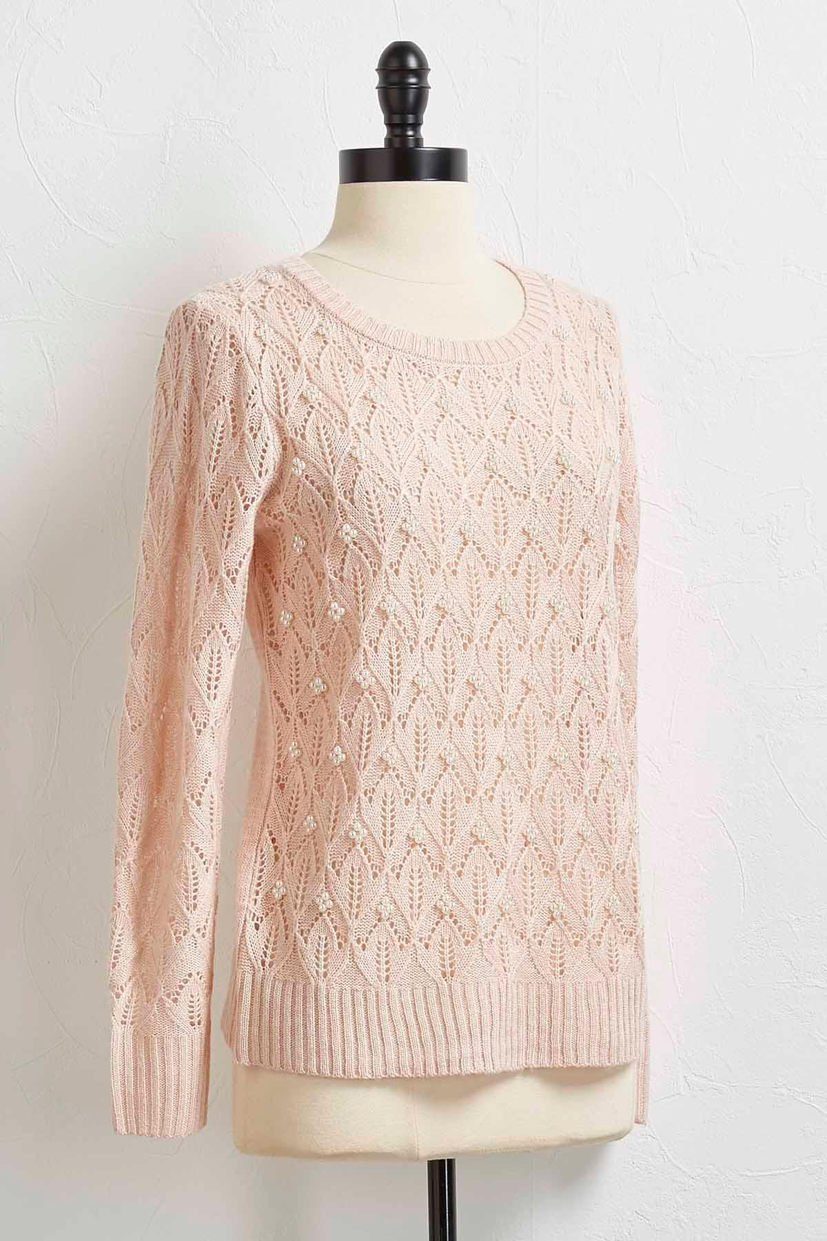 Pearl Embellished Pointelle Sweater