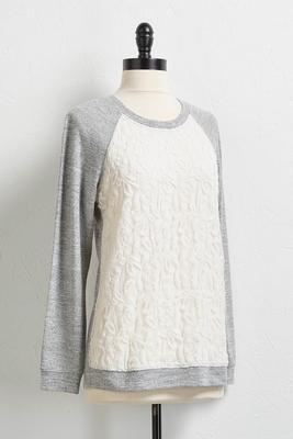 mesh lace hacci knit sweatshirt