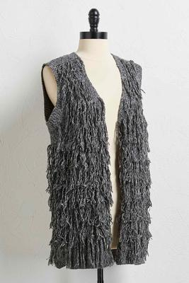 tiered fringe sweater vest