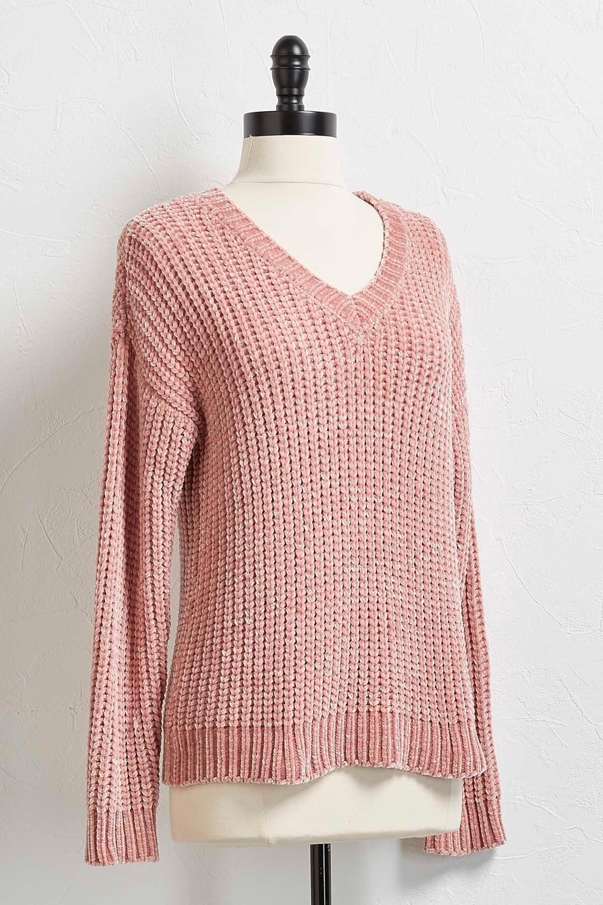 Chenille V- Neck Sweater
