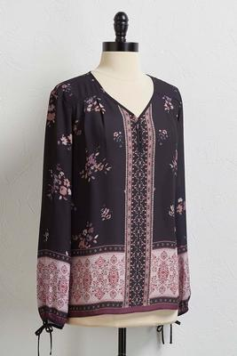 bordered dark ground floral top