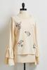 Embroidered Tiered Sleeve Sweater