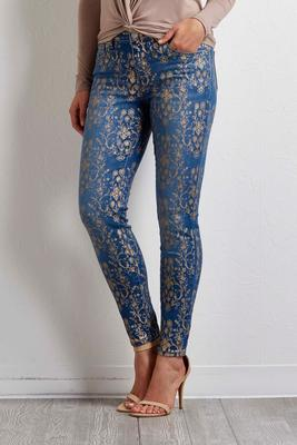 metallic floral skinny jeans