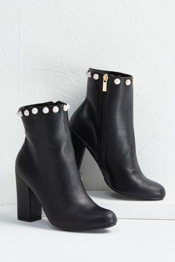 Pearl Embellished Midi Boots