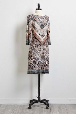 mixed v-print shift dress