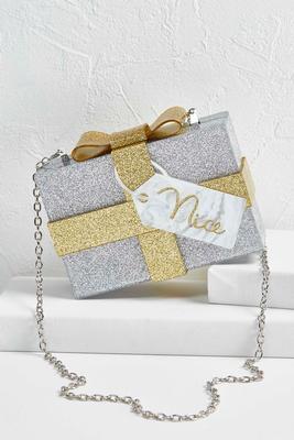 nice glitter present box clutch