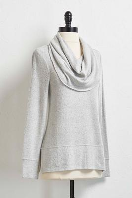 brushed hacci cowl neck tunic