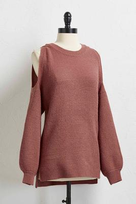 balloon sleeve bare shoulder sweater