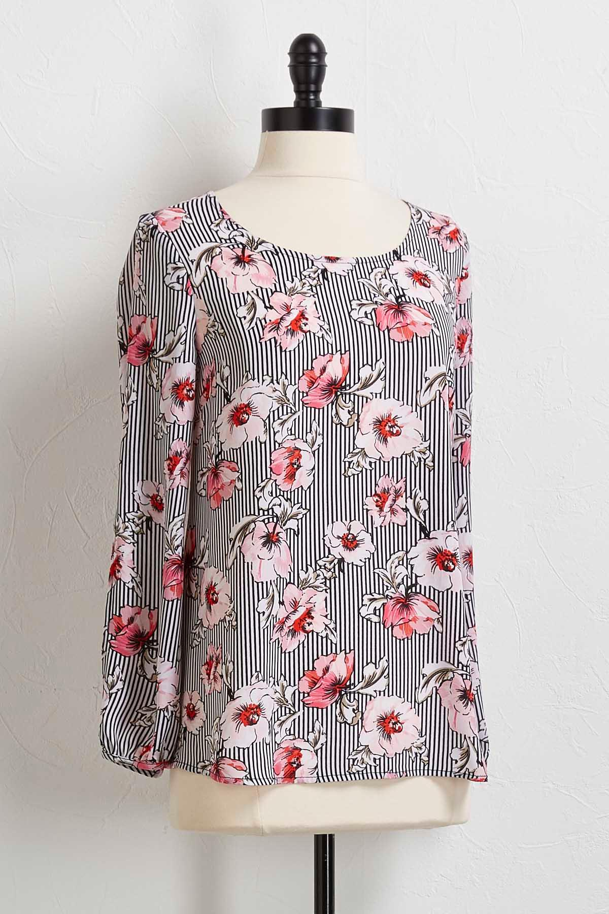 Floral Striped Slit Sleeve Top
