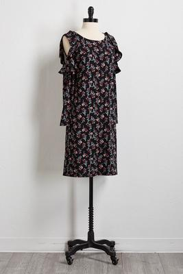floral bare shoulder shift dress