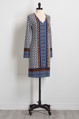 border mixed print dress