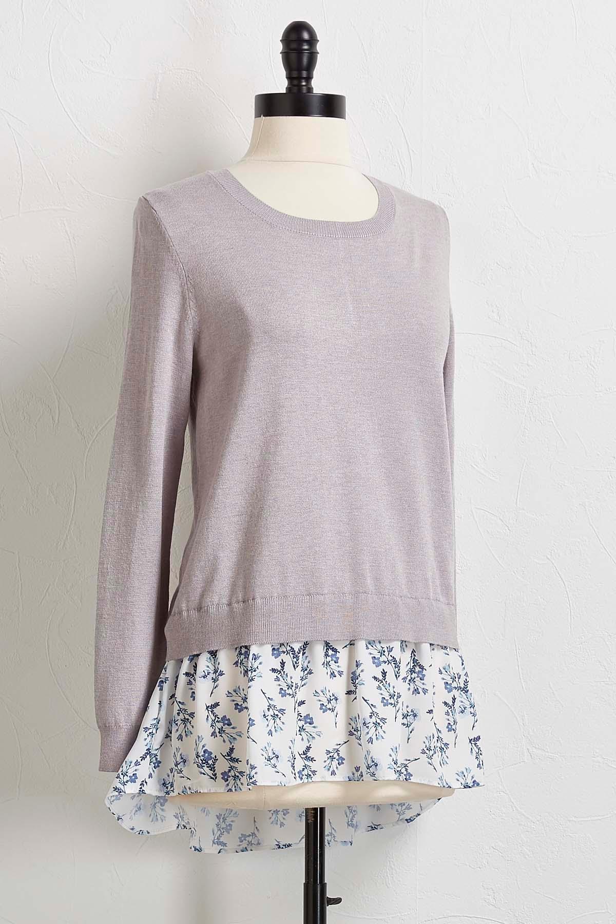 Floral Chiffon Layered Sweater
