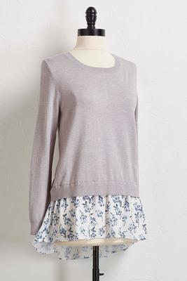 floral chiffon layered sweater