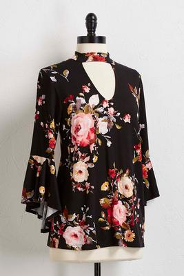 cutout mock neck floral top
