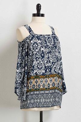 ikat bare shoulder top