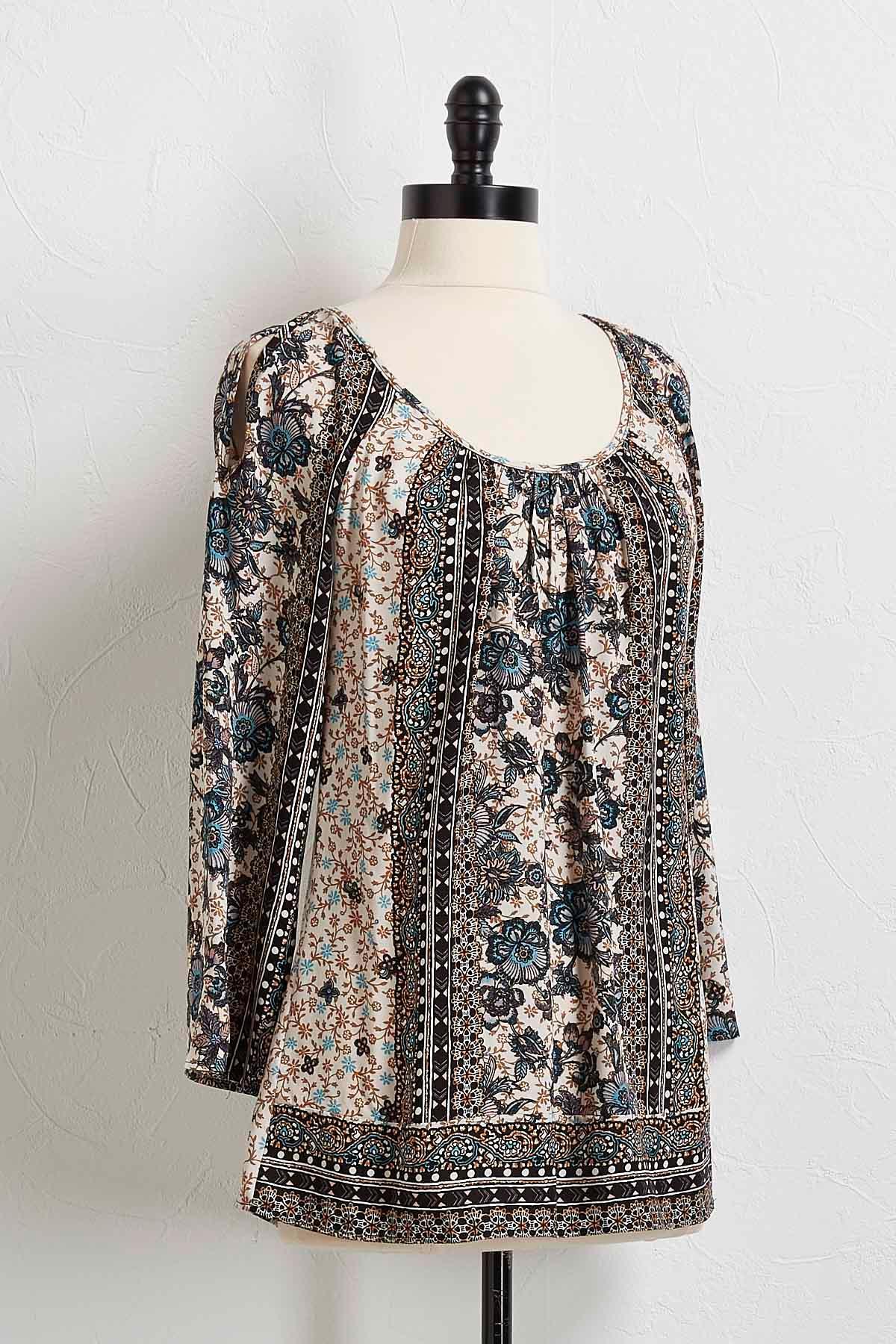Aztec Floral Bare Shoulder Top