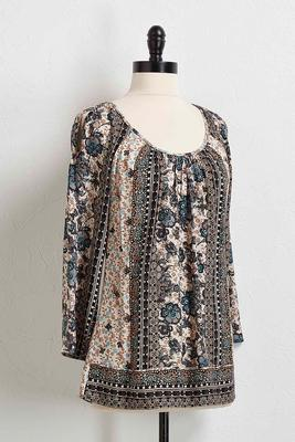 aztec floral bare shoulder top